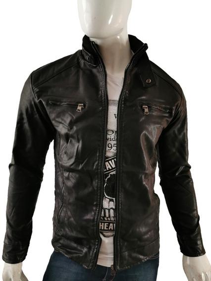 Chamarra Vini Piel Slim Fit Moderna Hombre Biker Color Negro