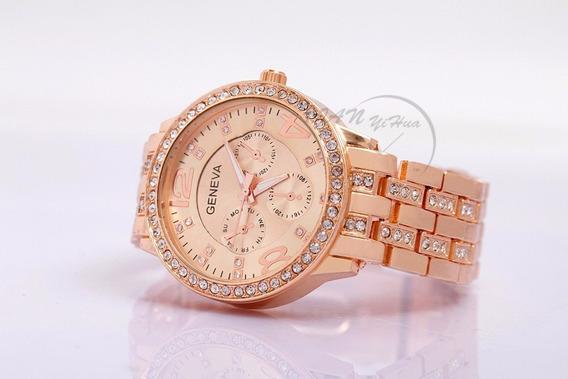 Relógio Feminino Rosê Com Strass Geneva Luxury