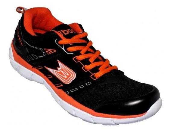 Tenis Para Correr Caballero Marca Boost Textil Negro Naranj