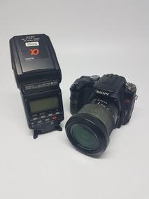 Câmera Dslr Sony A100 Com Flash Hvl F56am Funcionando