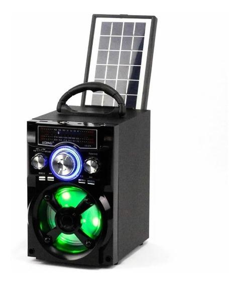 Rádio Caixa De Som Solar Bluetooth Fm Recarregável Luminária