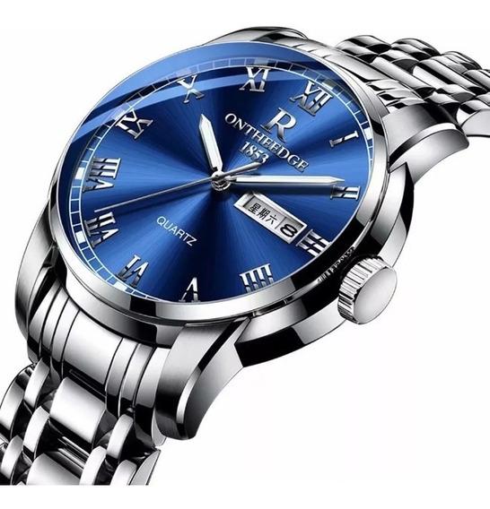 Relógio De Pulso De Quartzo Calendário Azul