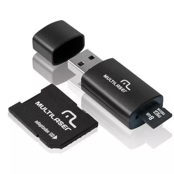 Cartão De Memória 8gb Microsd Multilaser Adaptador Sd E Usb
