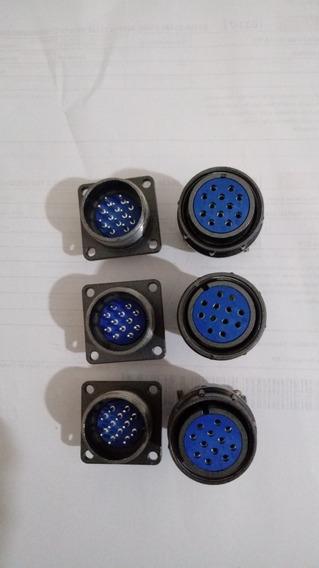 Kit Com 3 Conjuntos Conector Circular 12 Pinos