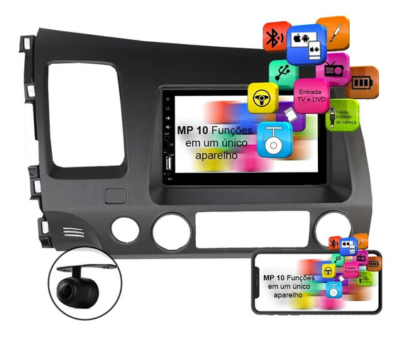 Central Multimídia Mp5 New Civic Espelhamento Ios E Android