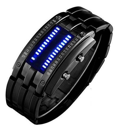 Reloj Digital Binary Matrix | Contra Agua | Led Azul |