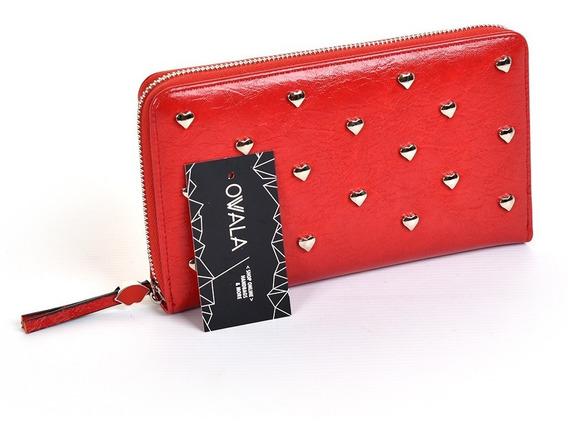 Billeteras Mujer Eco Cuero Importadas Tachas Roja Las Oreiro