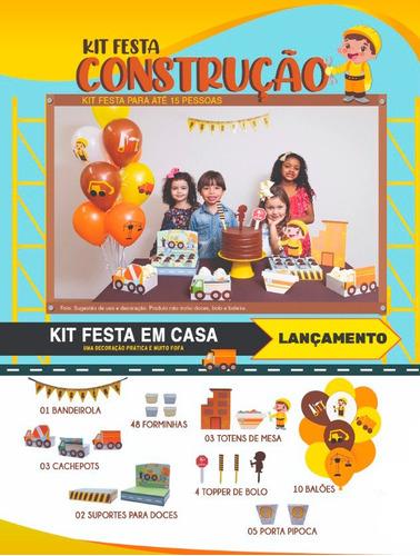 Imagem 1 de 10 de Kit Festa Construção Happy Day Festa Em Casa Decoração