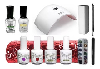 Kit Esmalte Permanente Uñas Gel + Decoracion + Lampara Uvled