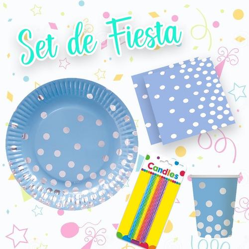 Imagen 1 de 5 de Set De Fiesta Para Cualquier Ocasión Azul Con Lunares