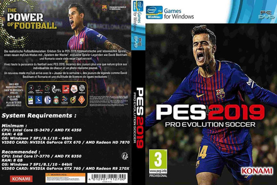 Pes 2019 + Bmpes 5.0 Pc Dvd ( Mídia Física )