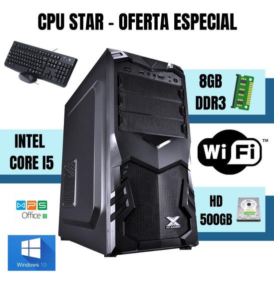Cpu I5 8gb Hd 500gb Windows 10 - Teclado E Mouse Usb Novo