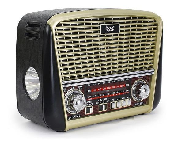 Radio Antigo Fm Am Sw Usb Aux Pendrive Lanterna Recarregavel