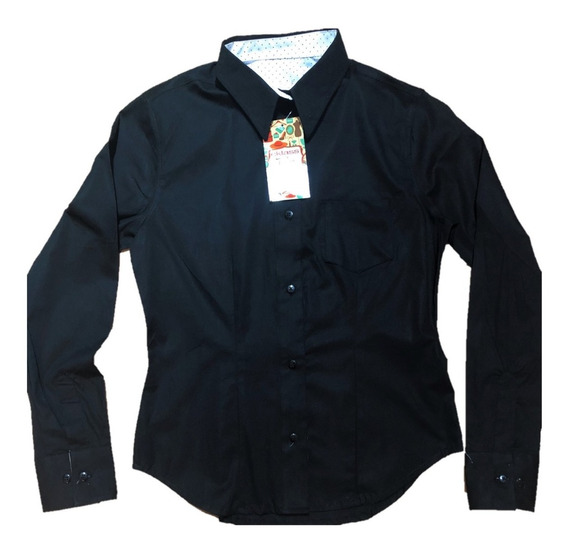 Oferta Bonita Blusa Combinada Negra Strech Slim Fit Cklas