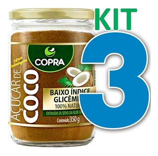 Kit 3 Açúcar De Coco Copra 350g 100% Puro Natura