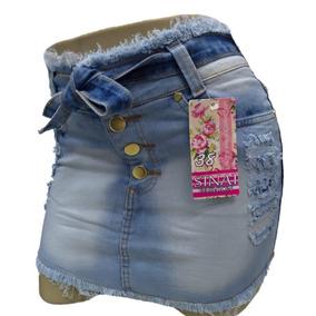 Roupas Femininas Saia Jeans Curta Com Lycra Cós Medio