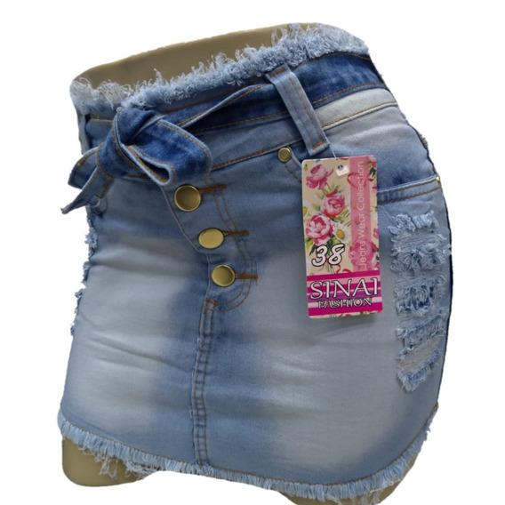 Roupas Femininas Saia Jeans Curta C/ Lycra Cós Medio 36 / 44