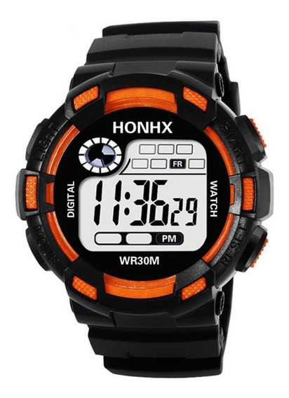 Naranja Reloj Deportivo A Prueba De Agua De Los Hombres Honh