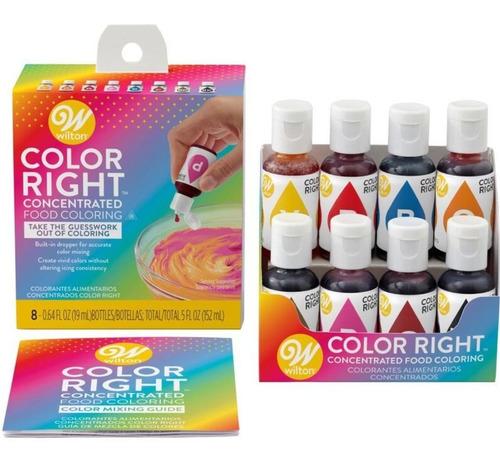 Imagen 1 de 10 de Colorante Comestible Liquido X 8 Color Right Wilton Titanweb