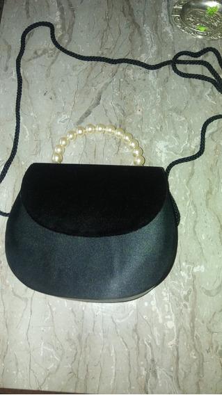Cartera De Fiestas Lujosa Negra Con Perlas