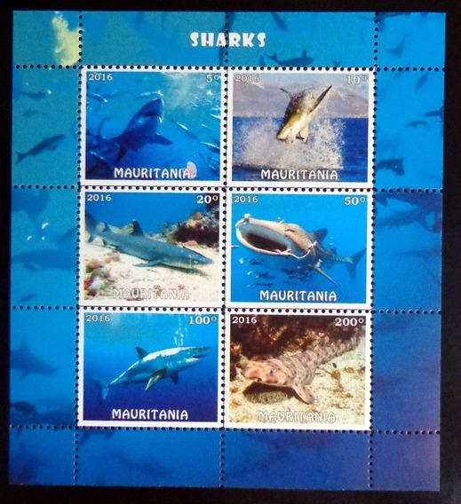 Mauritania Fauna, Bloque 6 Sellos Tiburones 2016 Mint L9883