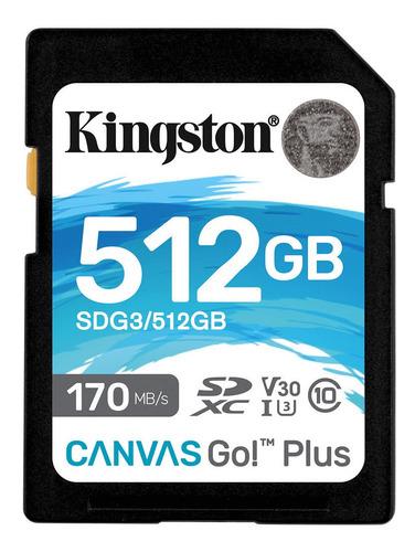 Imagem 1 de 3 de Cartão Sdxc 512gb Kingston Canvas Go! Plus 4k 170mb/s Uhs-i
