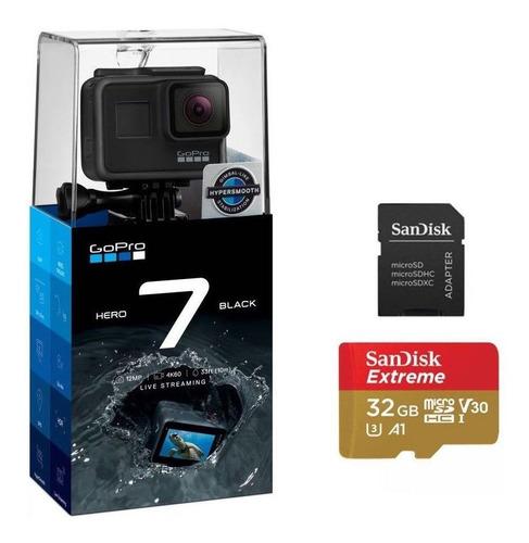 Imagem 1 de 6 de Câmera Gopro Hero 7 Black + Cartão 32gb Original Com Nota