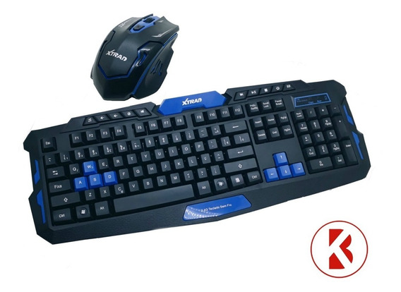 Kit Gamer Mouse E Teclado Sem Fio Wireless Xtrad -hk-8100