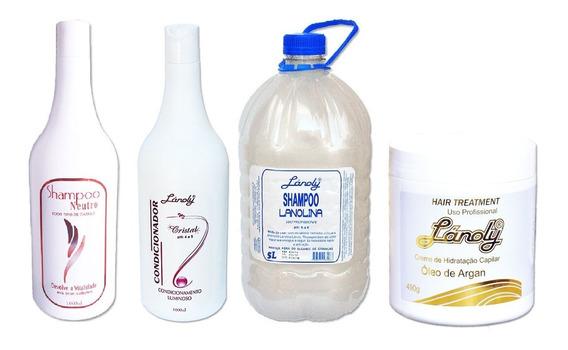 4 Produtos Lánoly Shampoo Condicionador Máscara Cabeleireiro