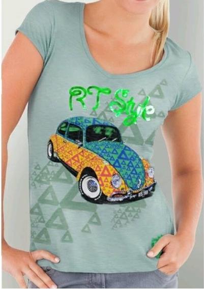 Camiseta Feminina Rtf010 Fusca Strass Moda