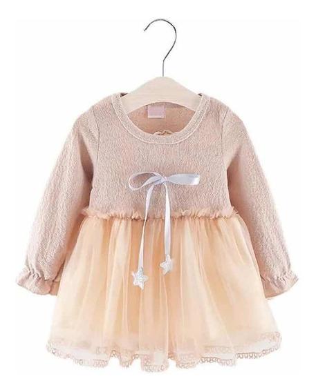 Vestido Para Niña Manga Larga, Color Beige Talla 1 Año