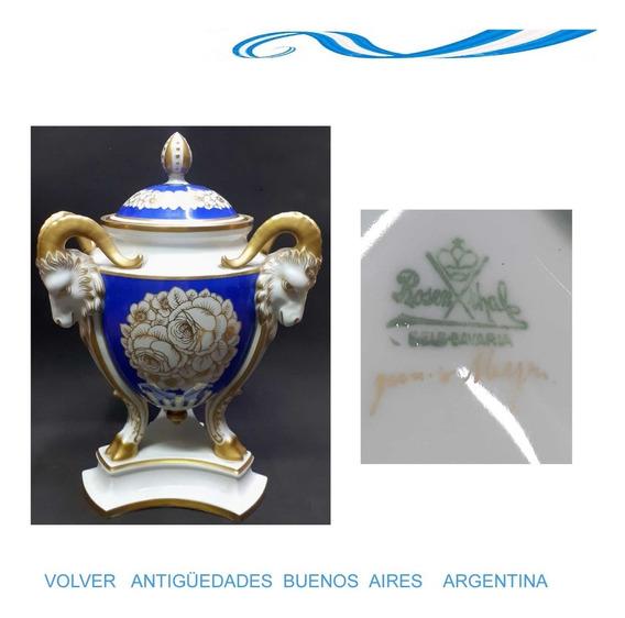 Urna Potiche Porcelana Rosenthal Cabras Diseño Firmada Raro