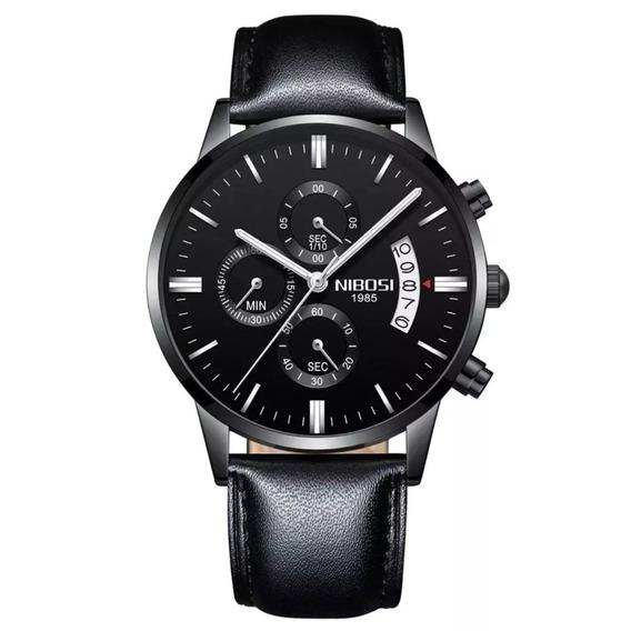 Relógio Masculino Nibosi Couro Preto Original Pronta Entrega