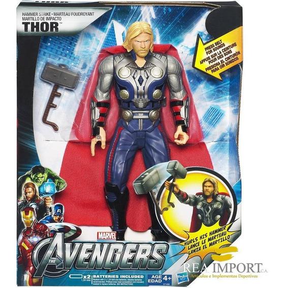 Muñeco Avengers Thor Habla Sonido Lanza Martillo Hasbro