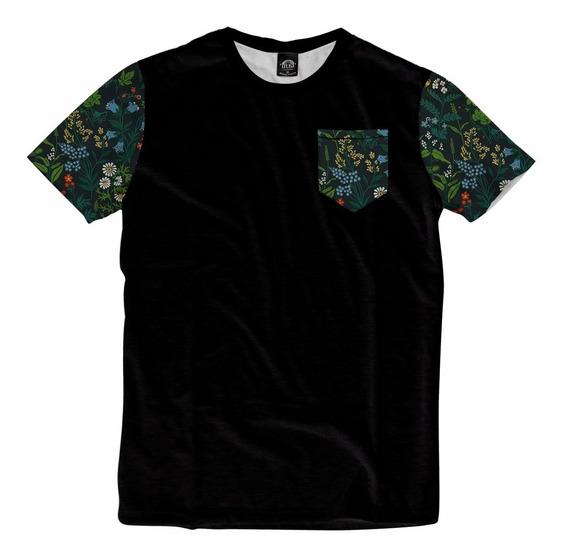 Camiseta Bolso Mangas Havaiana Floral Personalizada Swag