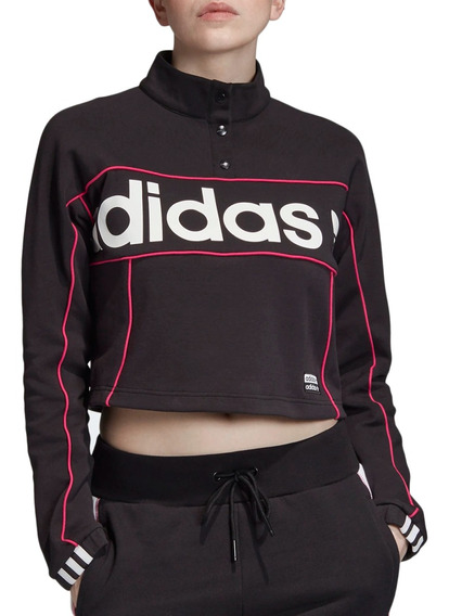 Buzo adidas Originals Moda Cropped Sweater Mujer Ng/fu