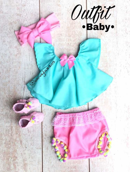 Outfits Bebé , Niñas , Cubre Pañal , Lazo