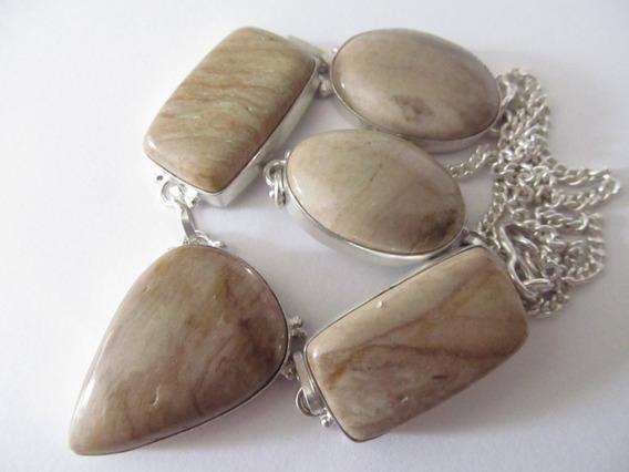 Colar Artesanal Com As Pedras Jaspe Madeira Gema Natural
