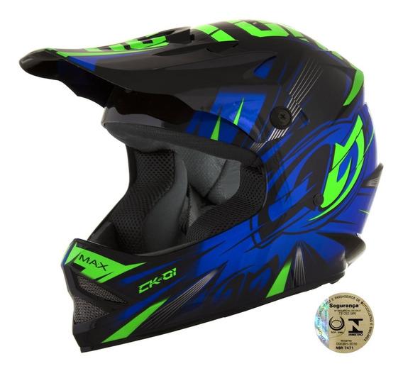 Capacete Infantil Motocross Pro Tork Ck-01 Preto E Azul 54
