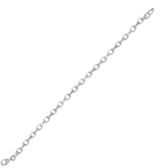 Pulsera Elaborada En Oro Blanco De 14 K Con Eslabón Pulido