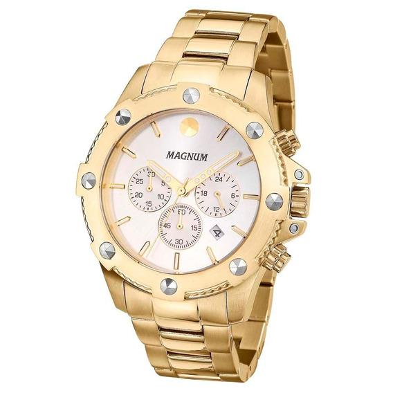 Relógio Masculino Magnum Ma33693h Analógico Dourado