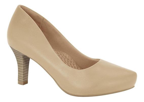 Lançamento Sapato Scarpin Comfortflex Natural Couro Encerado