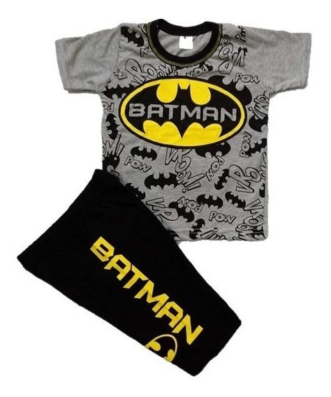 Conjunto Roupa Infantil Batman Super Heróis Ligajusti 1 Ao 7