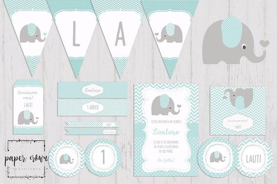 Kit Imprimible Elefante Cumpleaños Bautismos Baby Shower