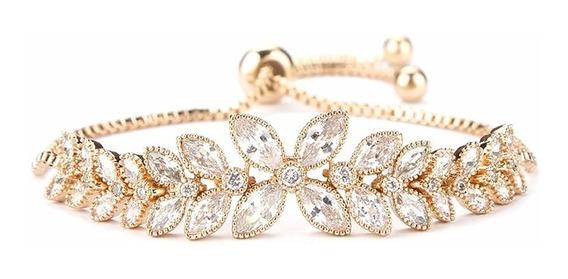 Bracelete Pulseira Folheada Ouro Cristal Modelo Swarovski Luxo Esposa 15 Anos Namorada C165