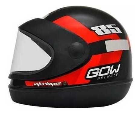Capacete Fechado De Motoqueiro Moto Automático Com Viseira Preto Vermelho Com Super Desconto Na Promoção - Gow
