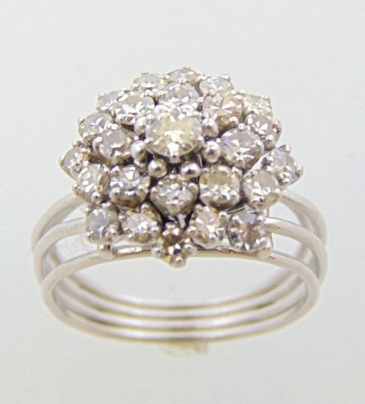 Anel Chuveiro Clássico De Diamantes Em Platina Happygold