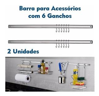 Kit 2 Barra Piatina 45cm Cromado 6 Ganchos De Parede Cozinha