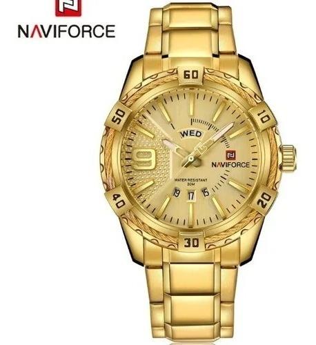 Naviforce Relógios De Luxo Importados 9117s Banhado A Ouro