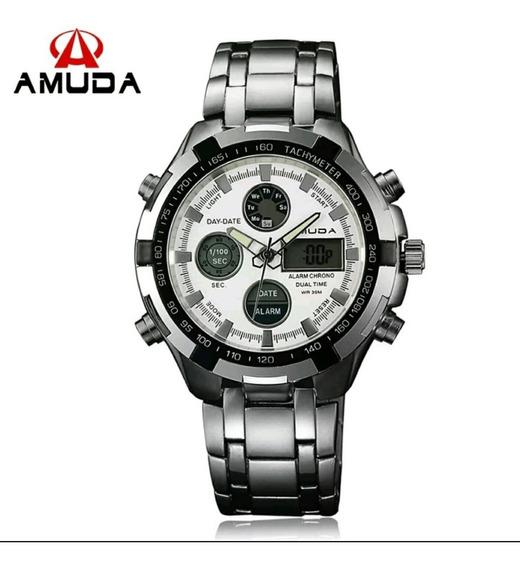 Relógio Masculino Amuda Luxo Dourado Promoção Pronta Entrega